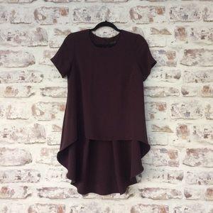 Topshop / Plum High-low Short Sleeve Shirt